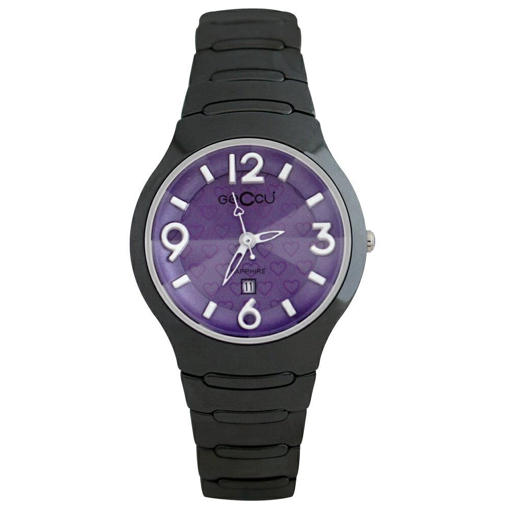 GECCU TC-1115 炫麗可愛心型切玻鏡面黑色陶瓷錶帶*5色 3
