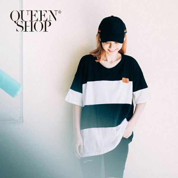 QueenShop【01037306】撞色拼接皮標T兩色售*預購*