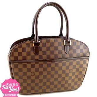 【奢華時尚】LV N51282 咖啡色棋盤格紋帆布肩背大蘋果包(八五成新) #20635