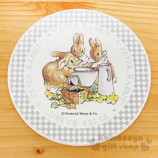 〔小禮堂〕彼得兔 陶土藝術杯墊《米白.喝湯.野餐籃.水壺》英式鄉村風情