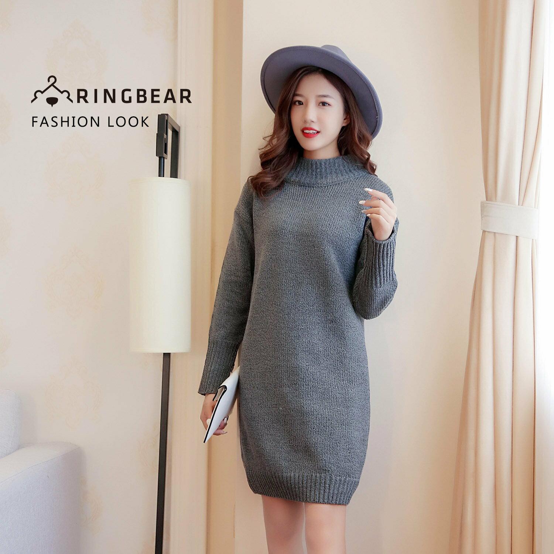 毛衣--輕熟女性保暖至上高領落肩袖反摺套頭素面長版針織毛衣(灰XL-3L)-A248眼圈熊中大尺碼 0