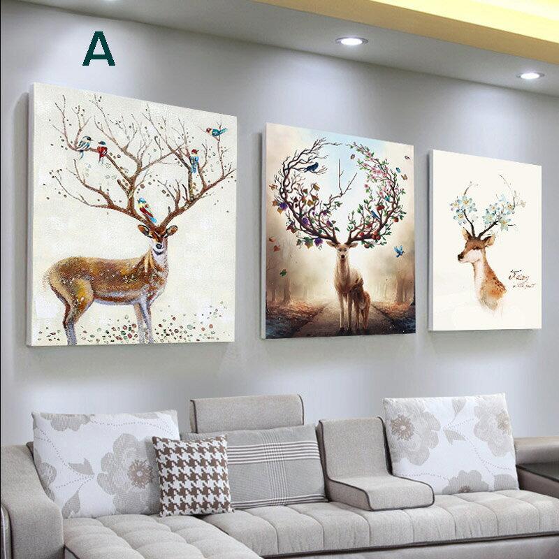 掛畫三件組【RS Home】北歐麋鹿無框掛畫相框木質壁畫裝飾畫板民宿攞飾油畫掛鐘掛畫 0