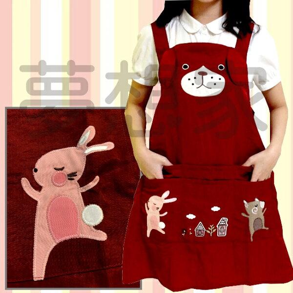日式和風系列絲光綿圍裙跳舞小熊與小兔《六口袋設計》★超有質感喔★夢想家精品生活家飾