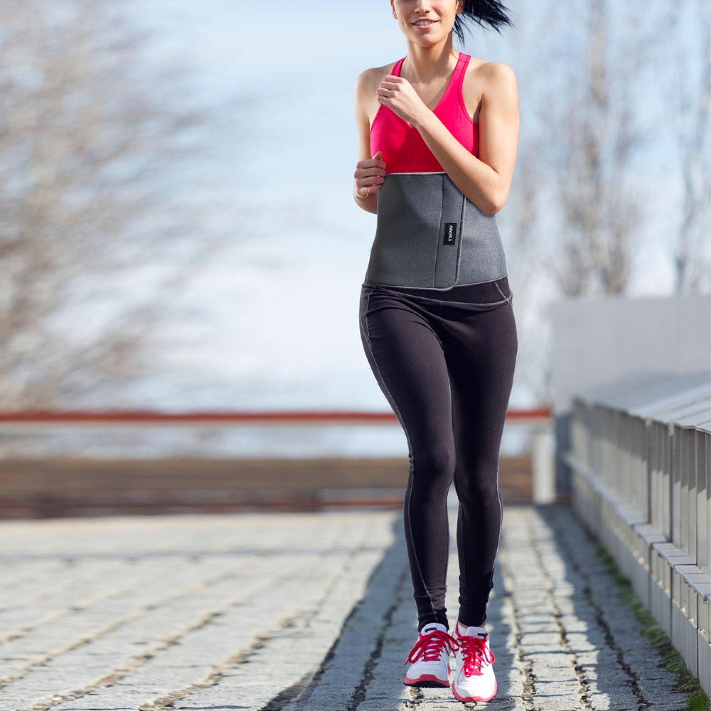 INNOKA Fat Burning Waist Trimmer Gym Running Exercise Wrap Belt Shapewear Sweat Weight Loss Body Shaper - Grey 5
