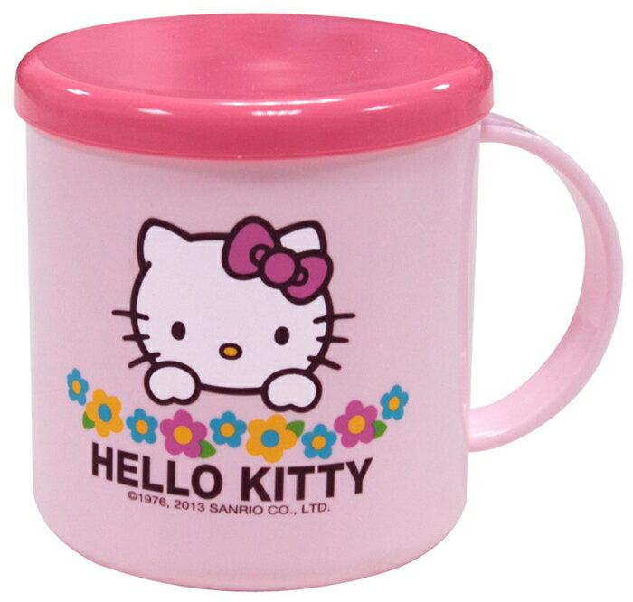 599免運~Hello Kitty 附蓋小花漱口杯 尺寸 : 12x9x9 cm