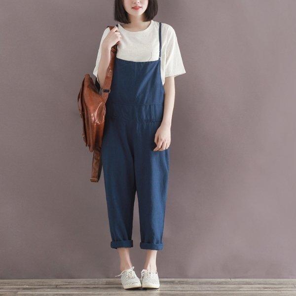 *漂亮小媽咪*隨意自在 韓版 亞麻 九分 背帶褲 寬鬆顯瘦 哈倫褲 孕婦 吊帶褲 YB8021