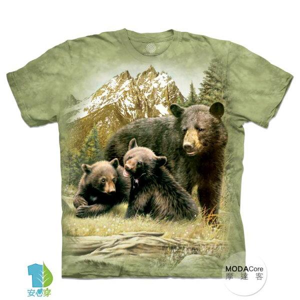 【摩達客】(預購)美國進口TheMountain黑熊家族純棉環保藝術中性短袖T恤