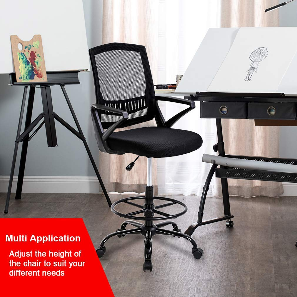 Groovy Mid Back Mesh Drafting Chair Office Chair Desk Chair Adjustable Height With Lumbar Support Flip Up Arms Rolling Swivel Computer Chair For Women Men Ocoug Best Dining Table And Chair Ideas Images Ocougorg
