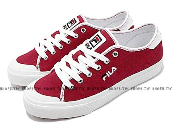 Shoestw【5C910S221】FILACLASSICKICKS帆布鞋休閒鞋紅白女生尺寸