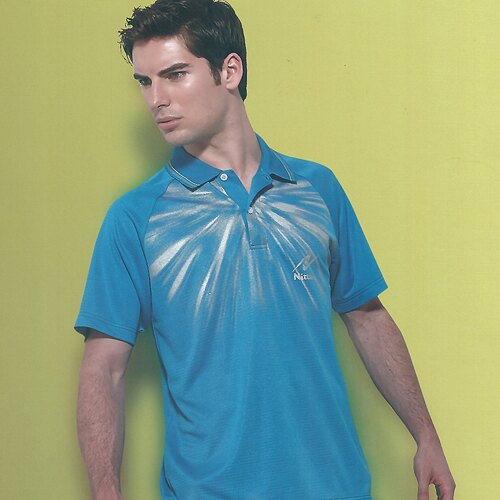 日本名牌Nittaku男女吸濕排汗(印刷圖騰)短POLO衫-海藍(#3628) - 限時優惠好康折扣