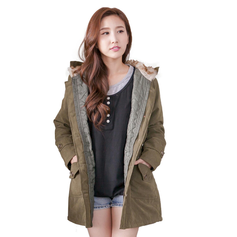 外套--貴婦氣息皮草帽裏鬆緊腰間銅釦鋪棉外套(粉.綠2L-5L)-J110眼圈熊中大尺碼 1