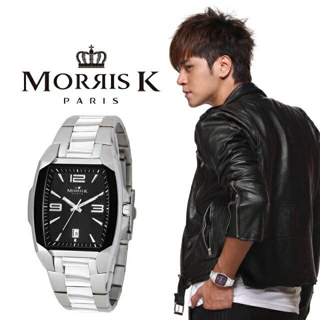 【Morris K】魅力無限不鏽鋼流行腕錶-黑x銀/35mm MK10105-CJ20