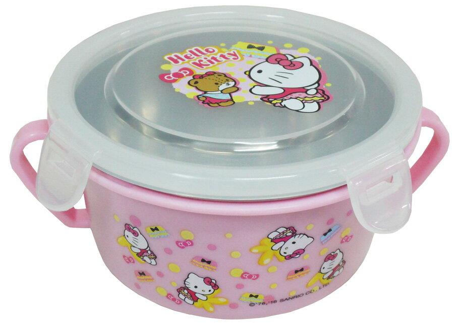 Hello Kitty不鏽鋼雙耳蓋碗(#304不鏽鋼)