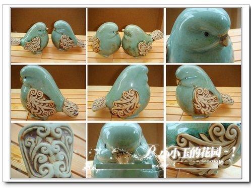 浮雕花紋翠釉陶瓷鳥A工藝品擺件家居飾品歐式田園創意結婚禮物
