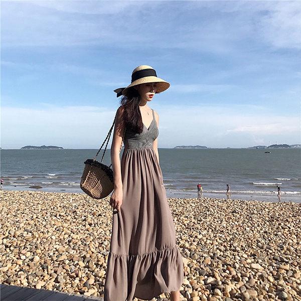PS Mall 波西米亞吊帶長裙雪紡連身裙渡假沙灘裙 洋裝【T2397】 0