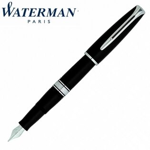 【華特曼WATERMAN】查理斯登系列黑桿白夾鋼筆18K筆尖FW0701030支