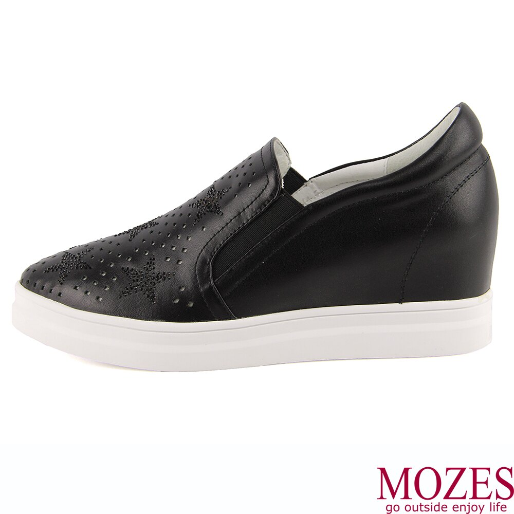 【MOZES】正韓空運-水鑽壓紋真皮內增高休閒鞋 3