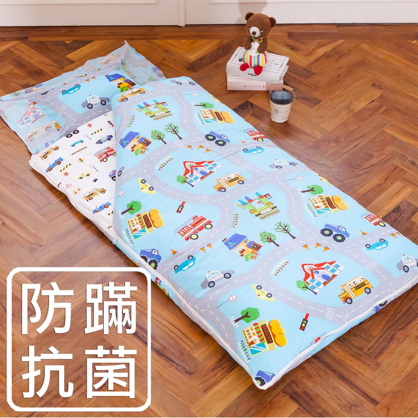 兒童睡袋  防蹣鋪棉睡袋  美國棉  精梳棉  防蹣抗菌鋪棉兩用睡袋  製  交通樂園17