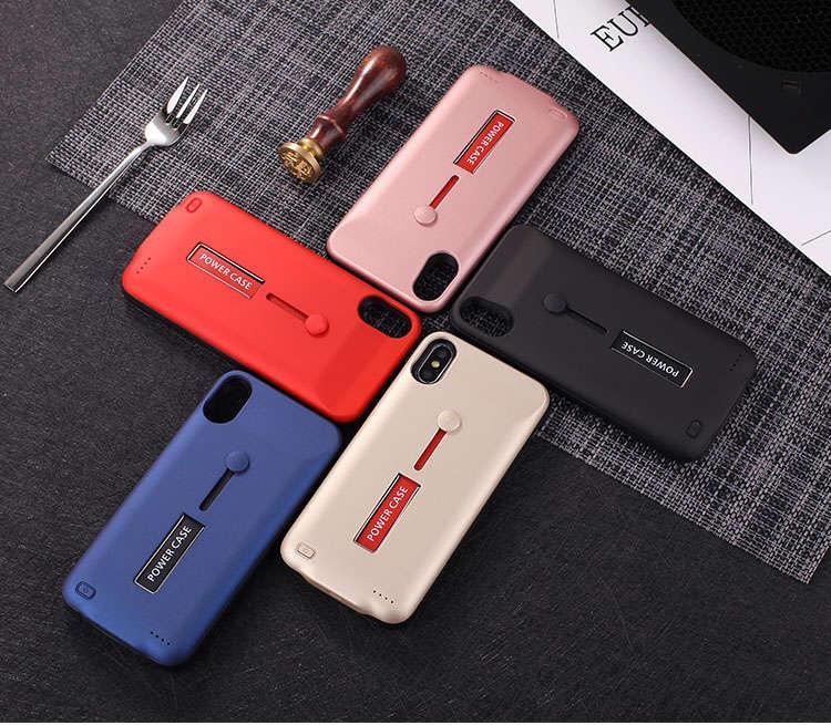 iPhone X 7/8 Plus 5000mAh 背夾電源 背蓋充 充電殼 支架+防脫落指環帶 輕薄款 手機殼會充電
