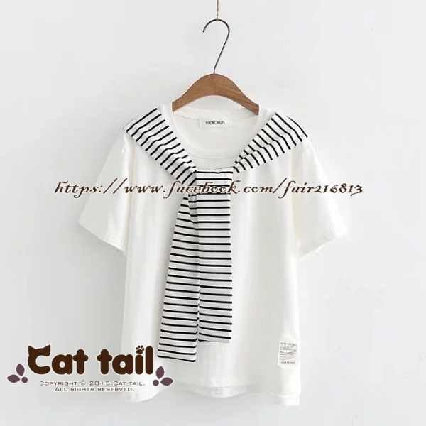 《貓尾巴》TS-0640小清新拼接條紋短袖T恤(森林系日系棉麻文青清新)