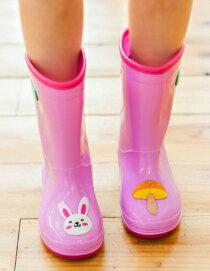 WallFree窩自在★正韓童話世界兔子青蛙國王獅子立體卡通動物款防滑兒童雨鞋