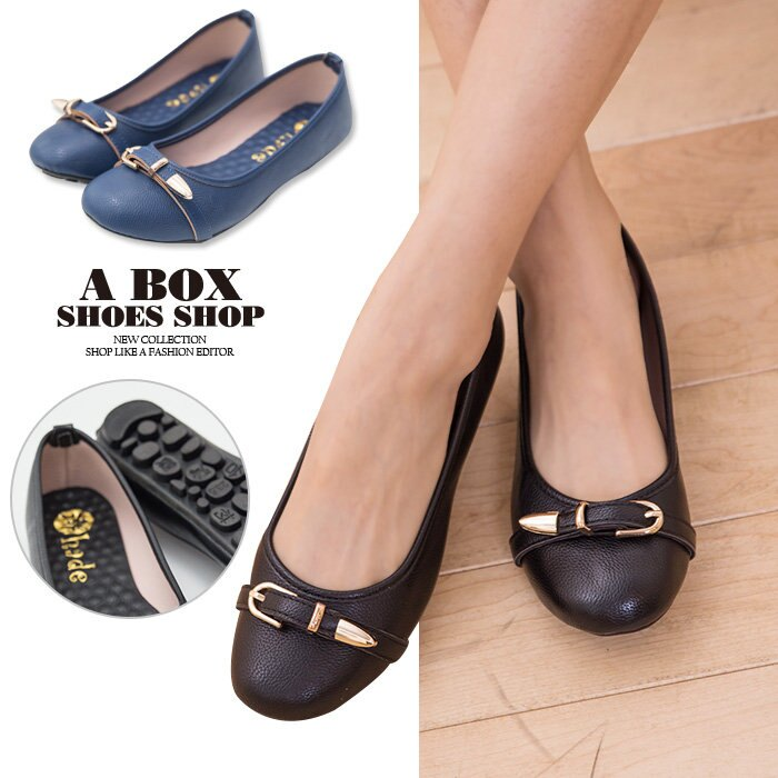 【KI3827】MIT台灣製 金屬釦環 乳膠墊舒適柔軟 圓頭包鞋 大豆豆底 娃娃鞋 2色 0