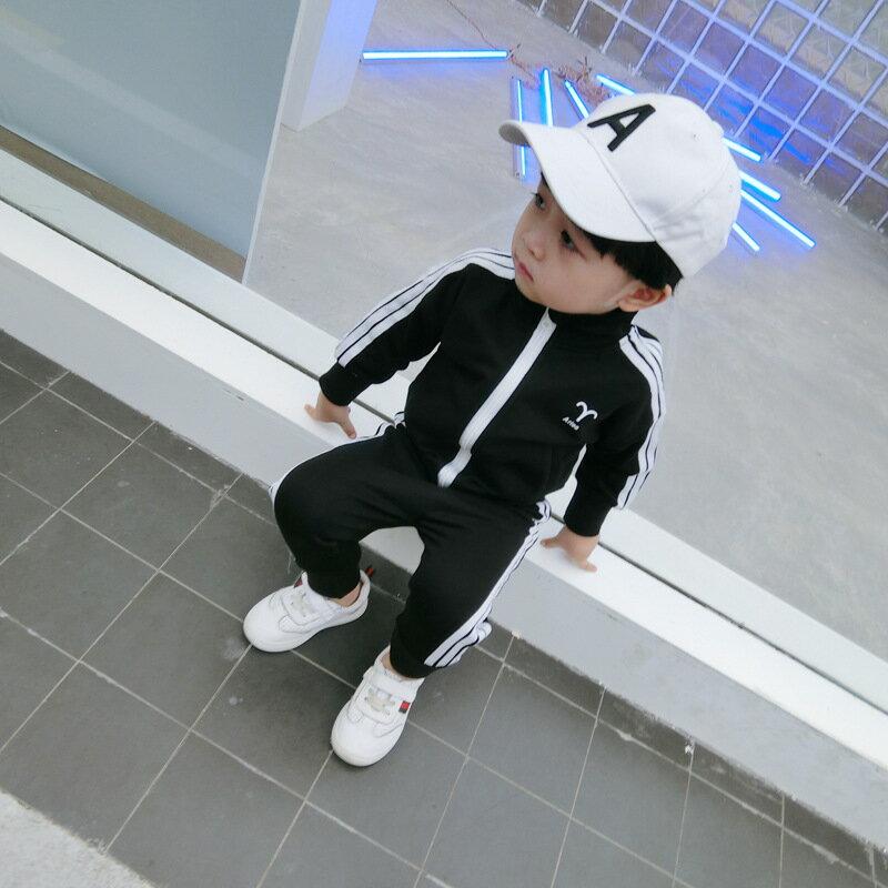 轉圈領紅包2021春裝新款韓版兒童套裝男女童寶寶時尚英文立領套裝