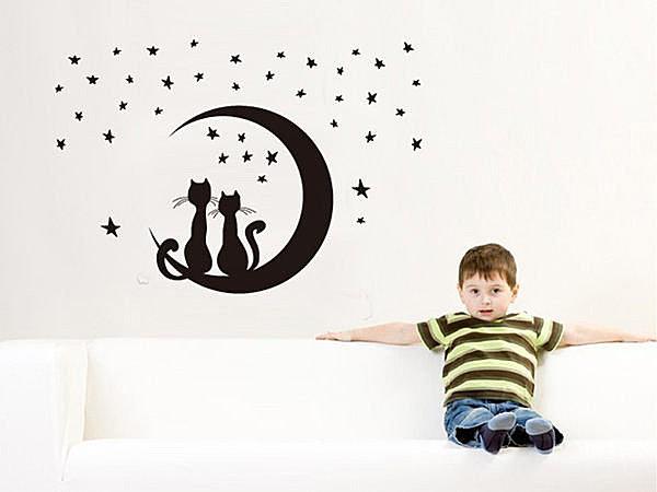 BO雜貨【YV2891】時尚組合壁貼 牆貼 壁貼紙 創意璧貼 壁紙壁貼 壁紙貼 星空貓咪