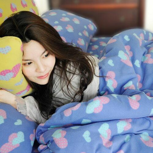 【心心相印-藍】單人三件式兩用毯床包組 / 自然居家◆ 高級搖粒絨 台灣製◆ HOUXURY寢具購物網