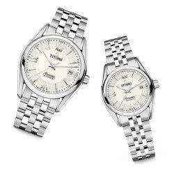 TITONI瑞士梅花錶 83909S-342+23909S-342 空中霸王雙色經典機械腕錶/米白條紋面 38.5+27mm