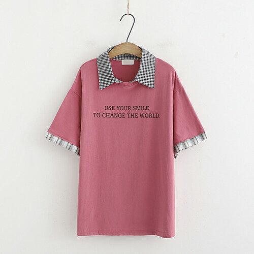 *ORead*條紋拼接字母印花短袖t恤(3色F碼) 2