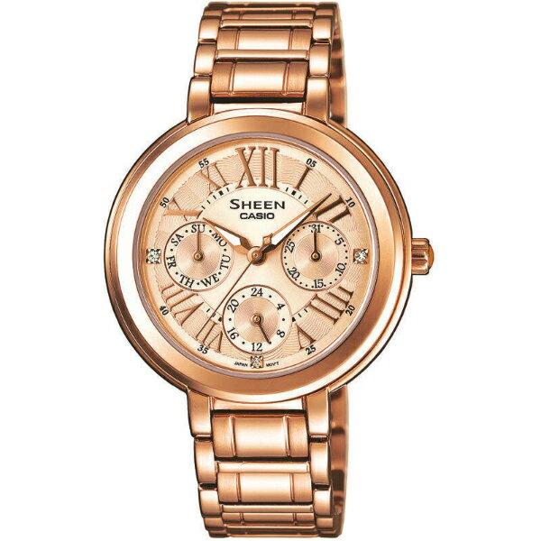 CASIO SHEEN SHE-3034PG-9A古典金時尚腕錶/金色34mm