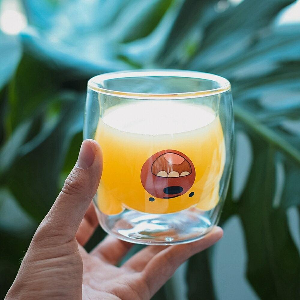 創意杯子 創意熊貓動物耐熱雙層玻璃杯韓版可愛學生杯子透明貓爪家用水杯女 清涼一夏特價