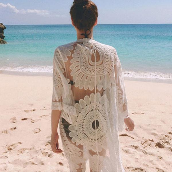 PS Mall 太陽花度假沙灘防曬長款罩衫 外套~T044~