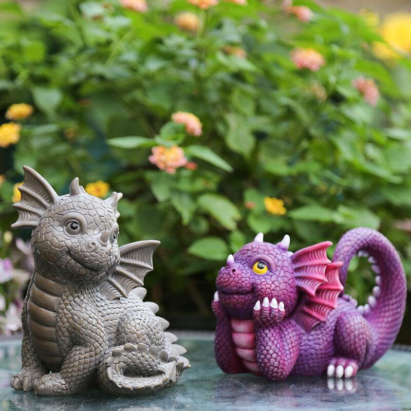 創意可愛卡通小恐龍擺件 花園小擺件庭院裝飾小動物樹脂工藝品