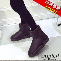 ZALULU愛鞋館 5JE020 現貨 經典款百搭簡約短筒平底雪靴-偏小-咖啡36