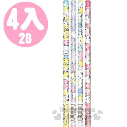 〔小禮堂〕San-X 小海豹 日製鉛筆組《4支入.藍粉黃紫.條紋.點點.星星》2B筆芯