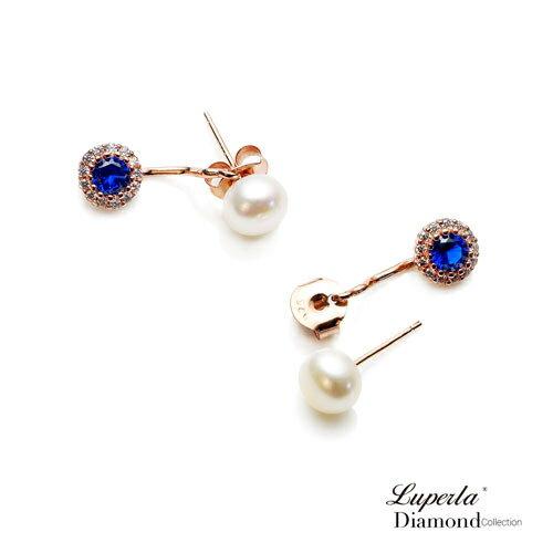 大東山珠寶 浪漫微醺海洋藍 玫瑰金天然珍珠耳環 雙用耳環 5