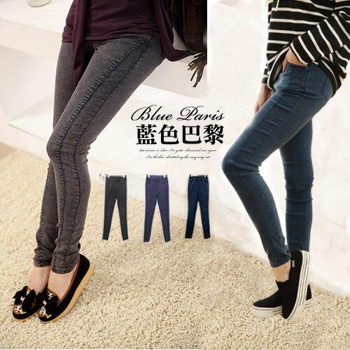 牛仔長褲  圓弧車線縮腰口袋 彈力窄管褲褲 (31143) 現貨 (2色) S~XL藍色巴黎 0