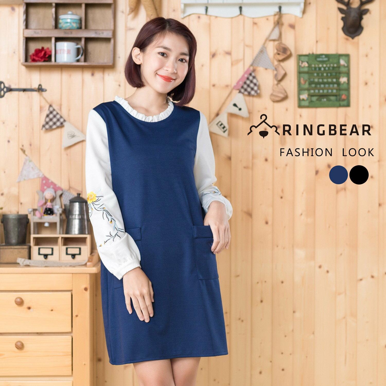 連身洋裝--優雅質感荷葉領口古典袖口刺繡雙口袋顯瘦A字裙(黑.藍M-2L)-A318眼圈熊中大尺碼 0