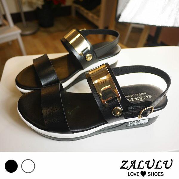 ZALULU愛鞋館7M014韓風金屬條一字帶小厚底涼鞋-黑白-36-40