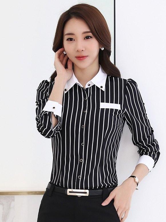 新款:上班族女裝直條紋黑白OL免燙襯衫(長袖 黑底白條)wcps114