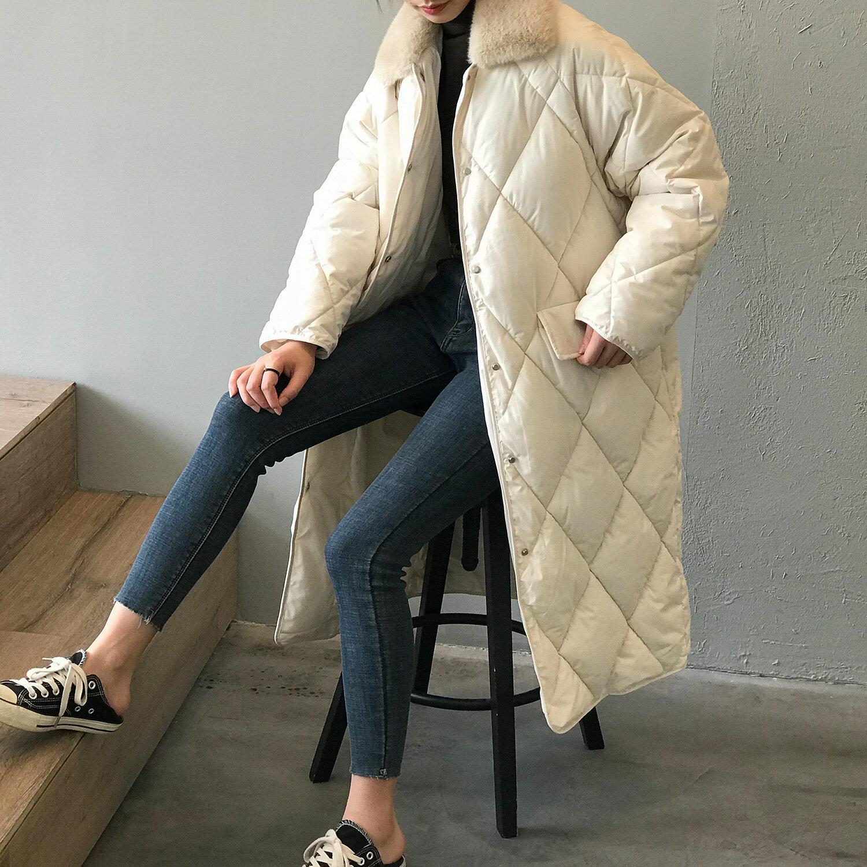 2020秋冬新款韓版中長款棉衣女毛領菱形紋寬鬆羽絨棉外套