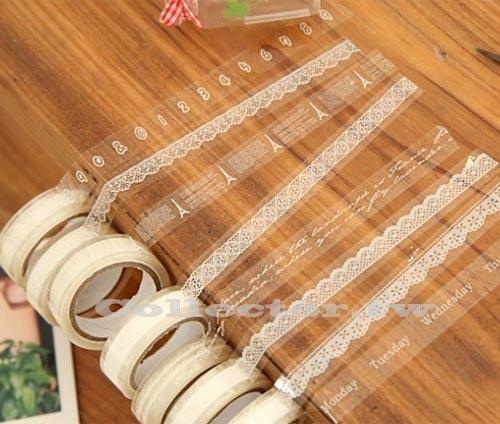【L13103001】複古可愛小清新 透明蕾絲花邊膠帶 DIY相冊配件日記本裝飾貼 10米