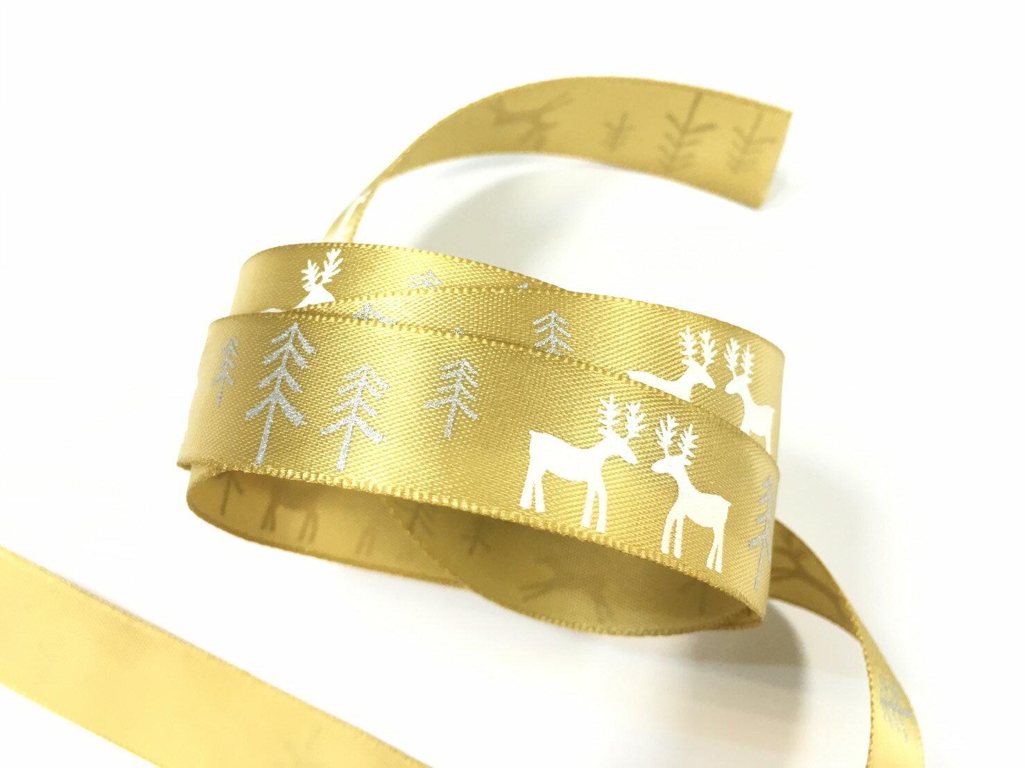 聖誕麋鹿雪樹緞帶15mm3碼裝(單緞面7色) 1