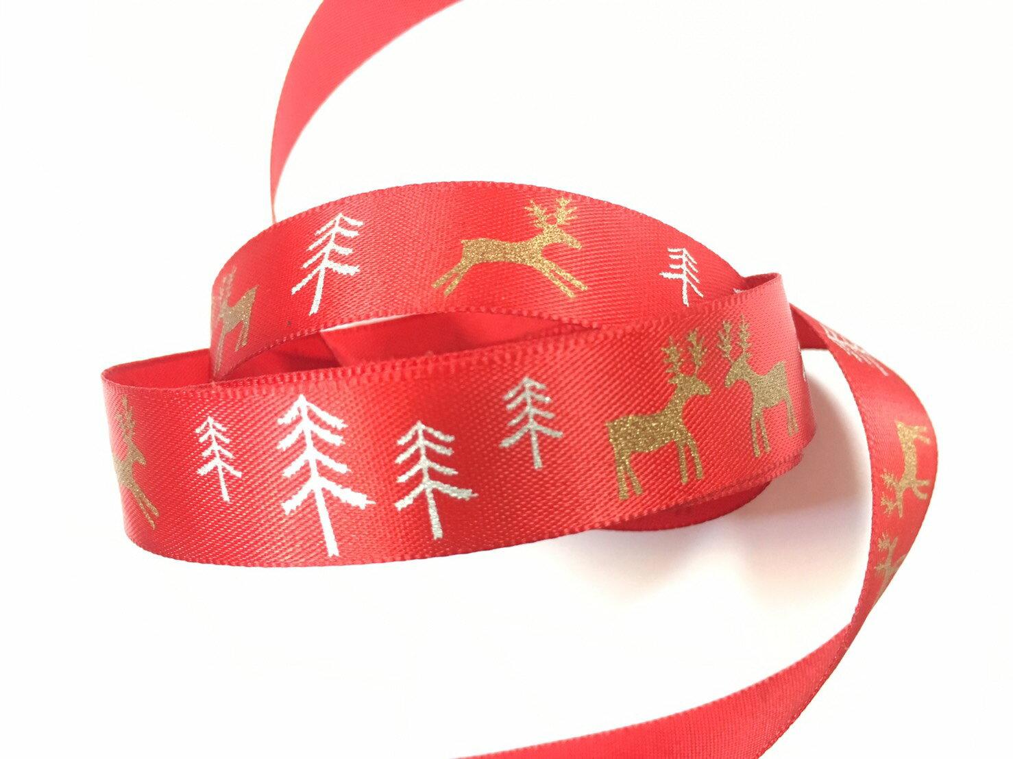 聖誕麋鹿雪樹緞帶15mm3碼裝(單緞面7色) 3