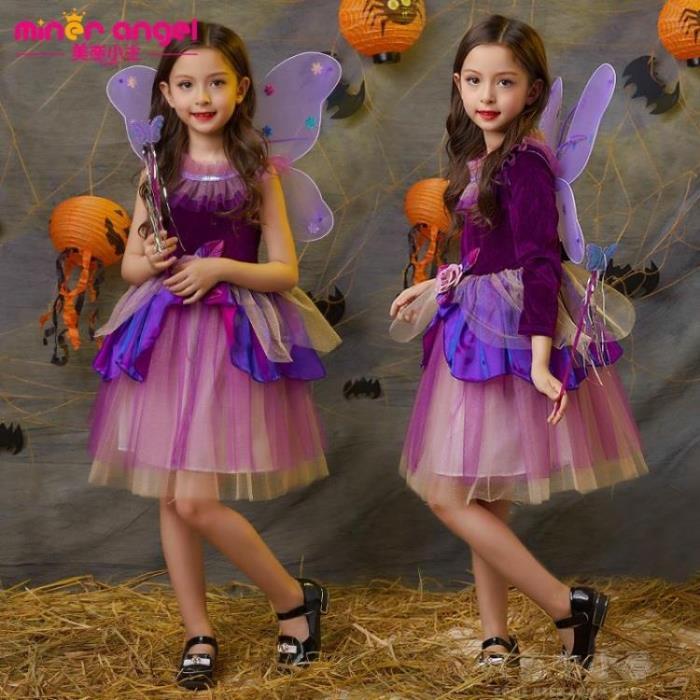 女童公主裙女巫造型服裝蝴蝶花仙子長袖裝扮生日禮服萬聖節表演服 - 限時優惠好康折扣
