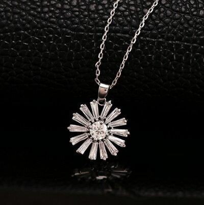 ~純銀項鍊 鍍白金水晶吊墜~ 優雅百搭花朵情人節生日 女飾品73dw137~ ~~米蘭 ~