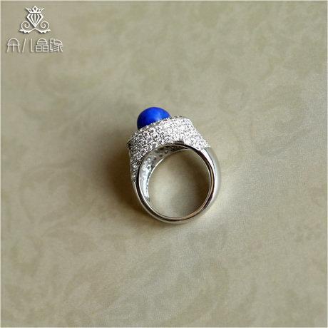 時尚青金石戒指 銀鑲嵌 女款戒指指環 帝王級