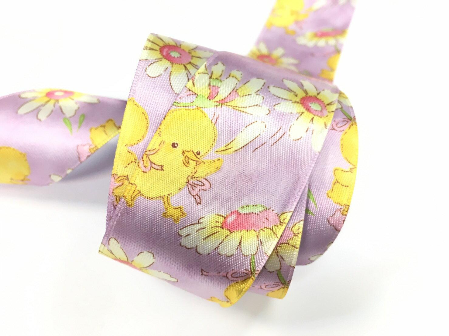 【Crystal Rose緞帶專賣店】黃色小雞單面緞緞帶 38mm 3碼 (4色) 2